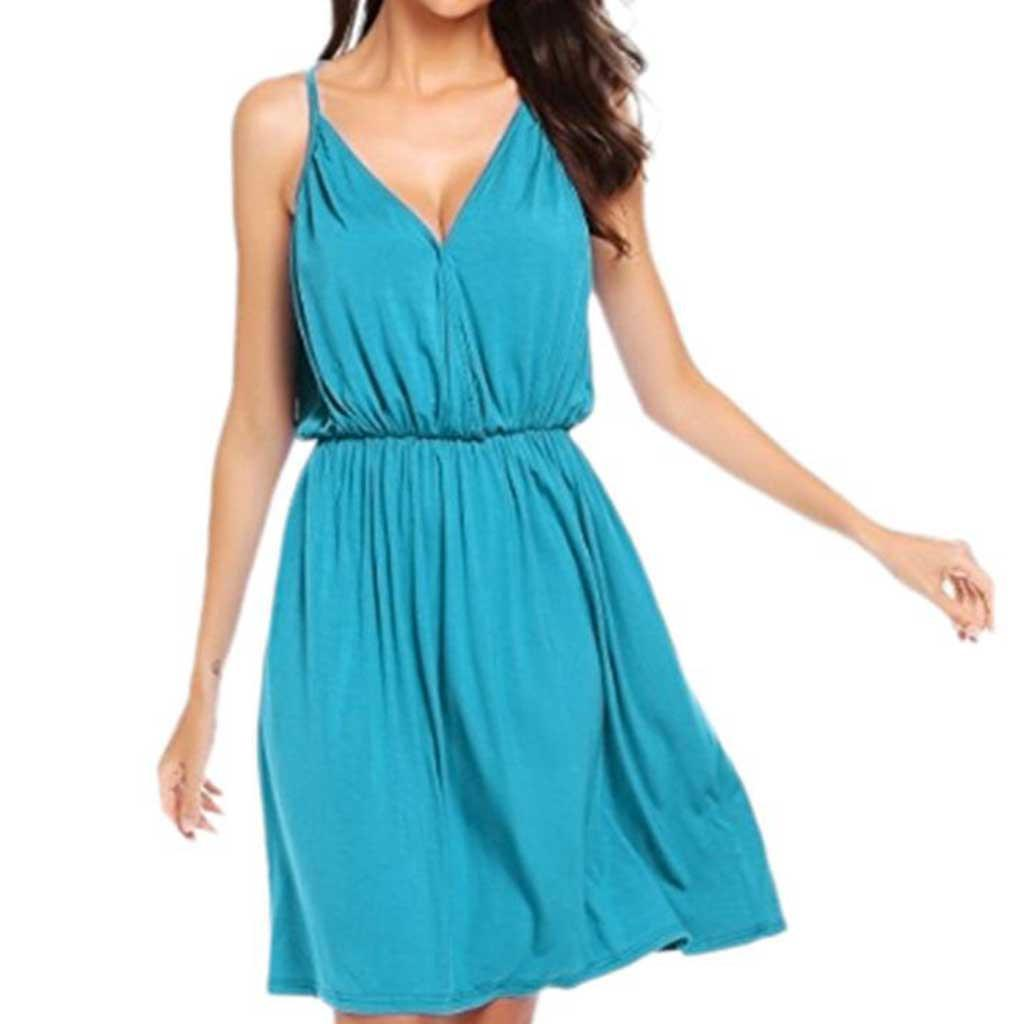 Solid Sleeveless Casual Summer Dress Women Sexy V-neck Party Dress Fashion New Female Vestido Beach Vestido De Festa Sundresses