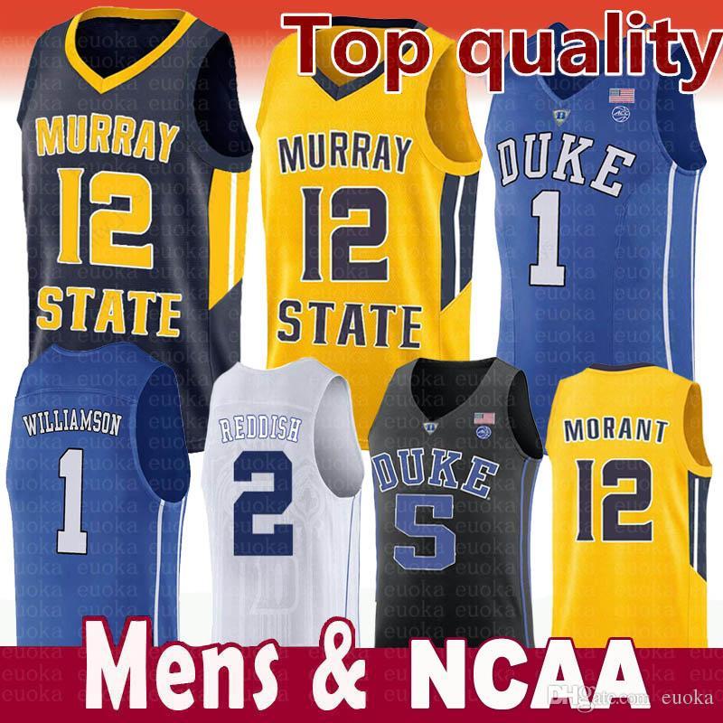 8a43ef777f6c 2019 2019 Men S NCAA Duke Blue Devils Jersey 1 Zion Williamson 5 RJ Barrett  2 Reddish Royal Blue Black White College Basketball Jerseys From Euoka