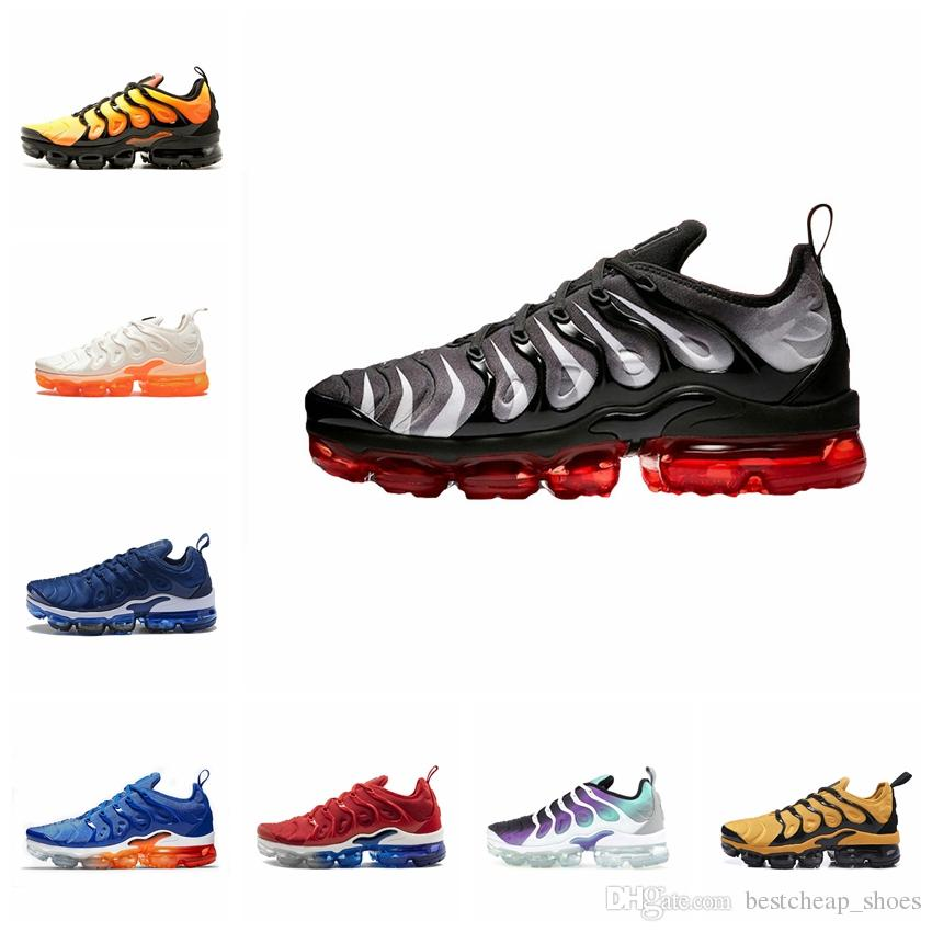 18ca69179cfc28 2019 2019 New Air Vapors TN Plus TNs Mens Running Shoes Hyper Blue Rainbow  Game Royal Smokey Mauve Maxes Sports Men Sneakers Chaussures 36 45 From ...
