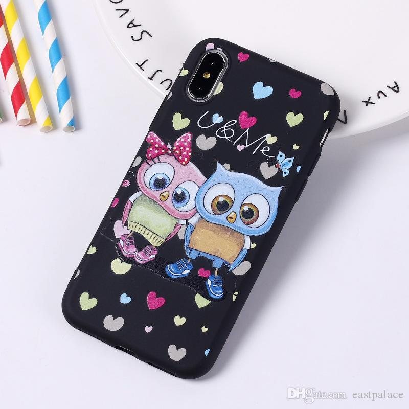 3D Cartoon Cute Owl Couple Case for Iphone X XS MAX XR Cover for I Phone 8 7 6 6S Plus Phone Soft Silicon Tpu Luxury Designer Case 200pcs