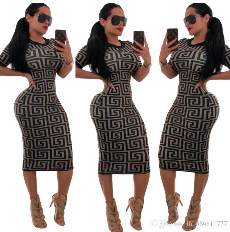 183335ea9e Women Casual O-neck Print Short sleeve Bodycon Party Dress Ladies Sexy  bodycon bandage knee length high waist Pencil dress Clubwear Dresses