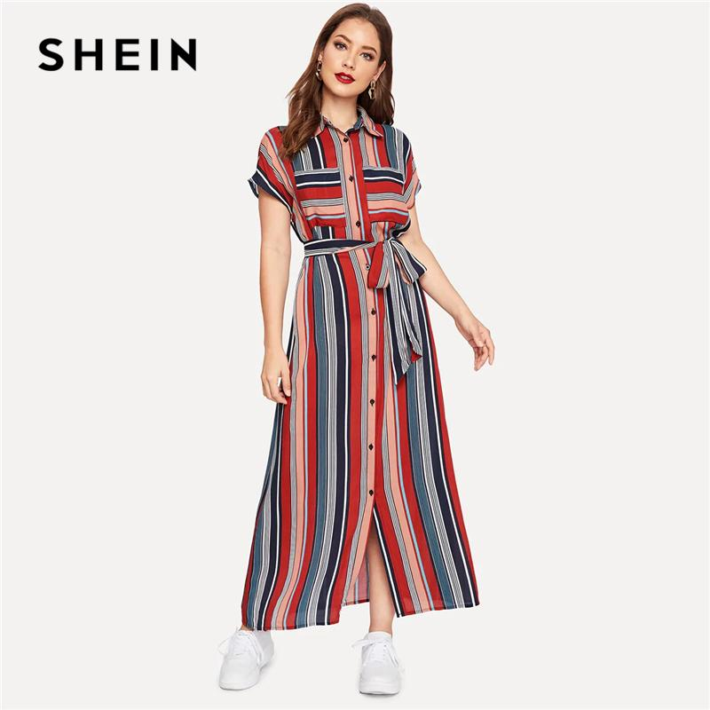 aa6802f3e7 SHEIN Colorful Striped Belted Hijab Shirt Dress 2019 Women Chic Spring  Summer Button Short Sleeve Pocket Autumn Dresses Cute Dresses Red Dresses  From ...