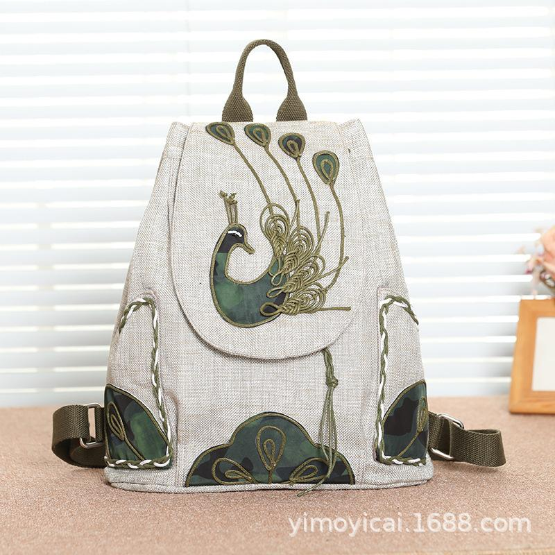 One Wipe Splendor Original Nation Wind Tourism Backpack Tuba Both Shoulders Package Cotton Linen Material Manual Weave Peacock Pattern