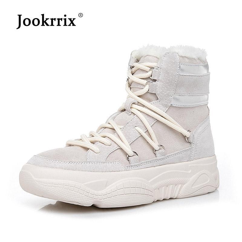 bfa129c01 Compre Jookrrix 2018 Calçados Casuais Marca De Moda Feminina Botas De Neve Senhora  Chaussure Calçados Femininos De Inverno Com Botas De Pele Ankle Todos Os ...