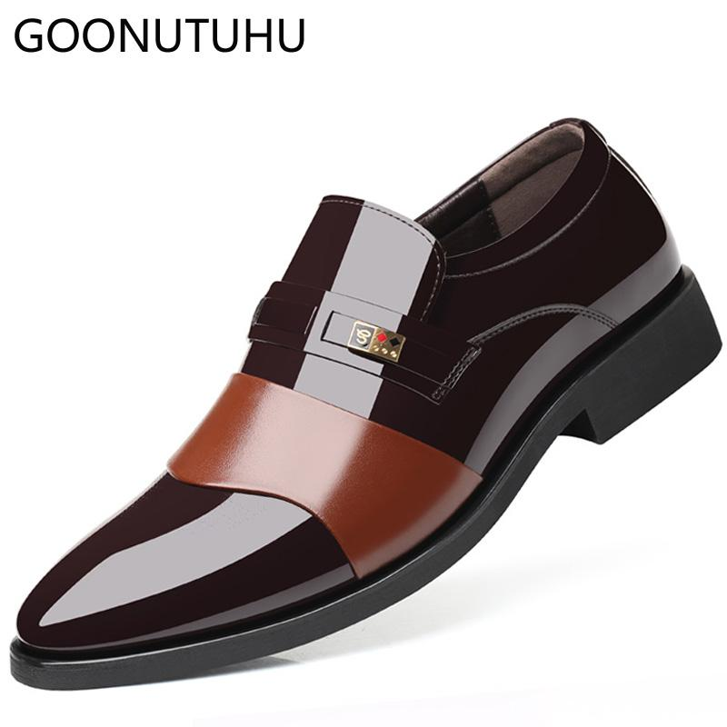 e4256e367c7f Men s dress shoes slip on leather nice classic brown black shoe man elegant  party wedding & business office formal shoes for men
