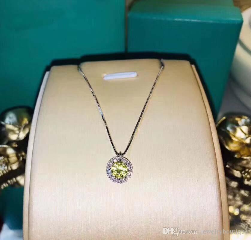 623c55bccff Wholesale 925 Sterling Silver Round Pendant With Yellow Diamond And Logo  Engraved Fit Pandora Necklace With Cz Paved For Wedding Gift PS5041 Small  Pendant ...
