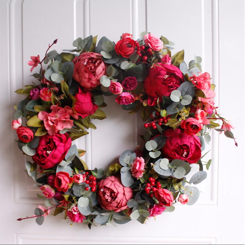 2019 Autumn Peony Wreath Christmas Wreath Red Door Wall Hanging