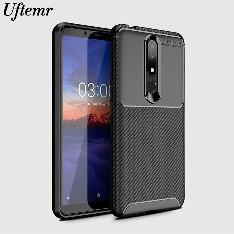 new product 2c2c0 eb505 Phone Case For Nokia 3.1 Plus Cover Carbon Fiber Shockproof Soft Tpu  Silicone Back Cover For Nokia 3.1 Plus Ta-1118 Ta-1104 Case