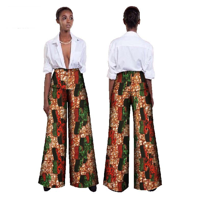 African Fabric Wax Print High Waist Loose Pants Plus Size African Clothes for Women Office Bazin Riche Wide Leg Pants WY392
