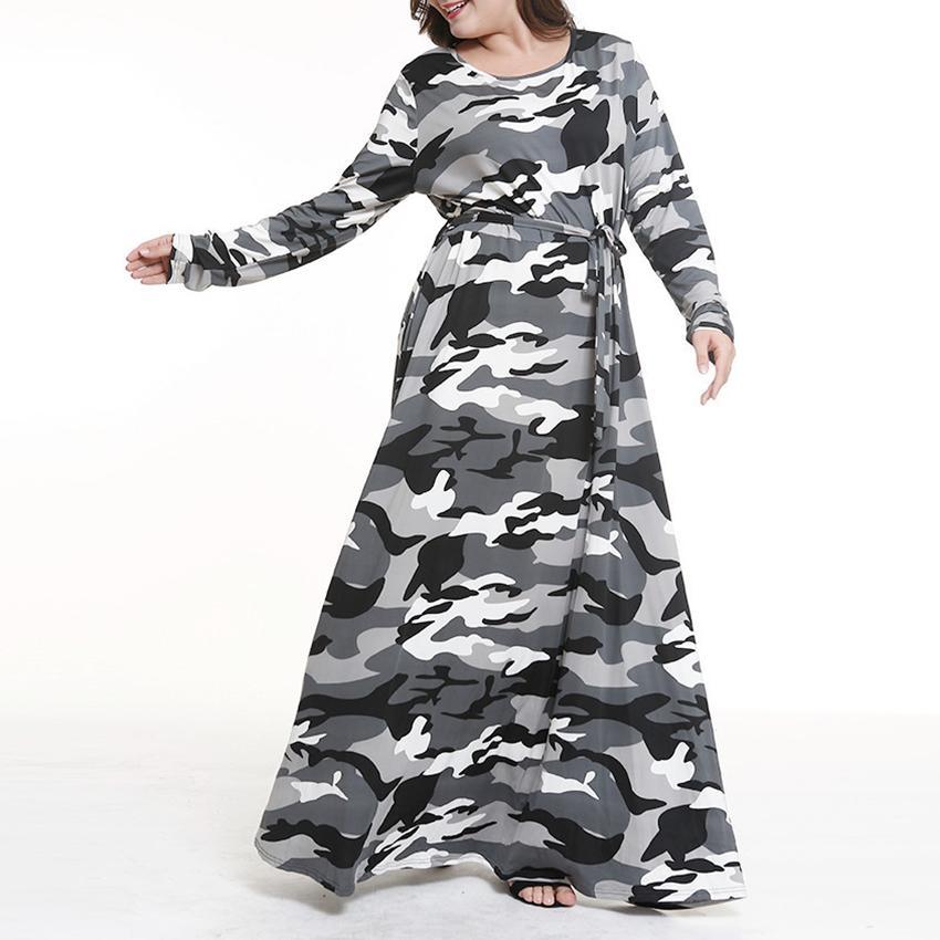 f5b69847aeb2d Satın Al Kadın Büyük Boy Uzun Elbiseler İlkbahar Sonbahar Kamuflaj O Boyun Uzun  Kollu Ince Tunik Üst Elbise Büyük Boy Bluzlar Kadın Giyim, $33.33   DHgate.