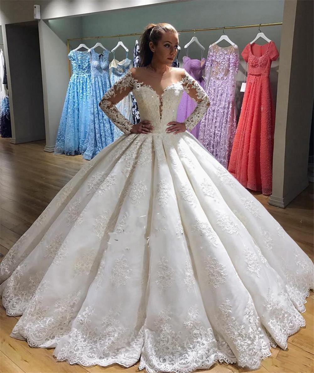 2019 Arabic Ball Gown Wedding Dresses V Neck Full Lace Appliques Beaded  Crystal Long Sleeves Puffy Vestido Plus Size Formal Bridal Gowns Wedding  Designers ... fdf90cfccae9