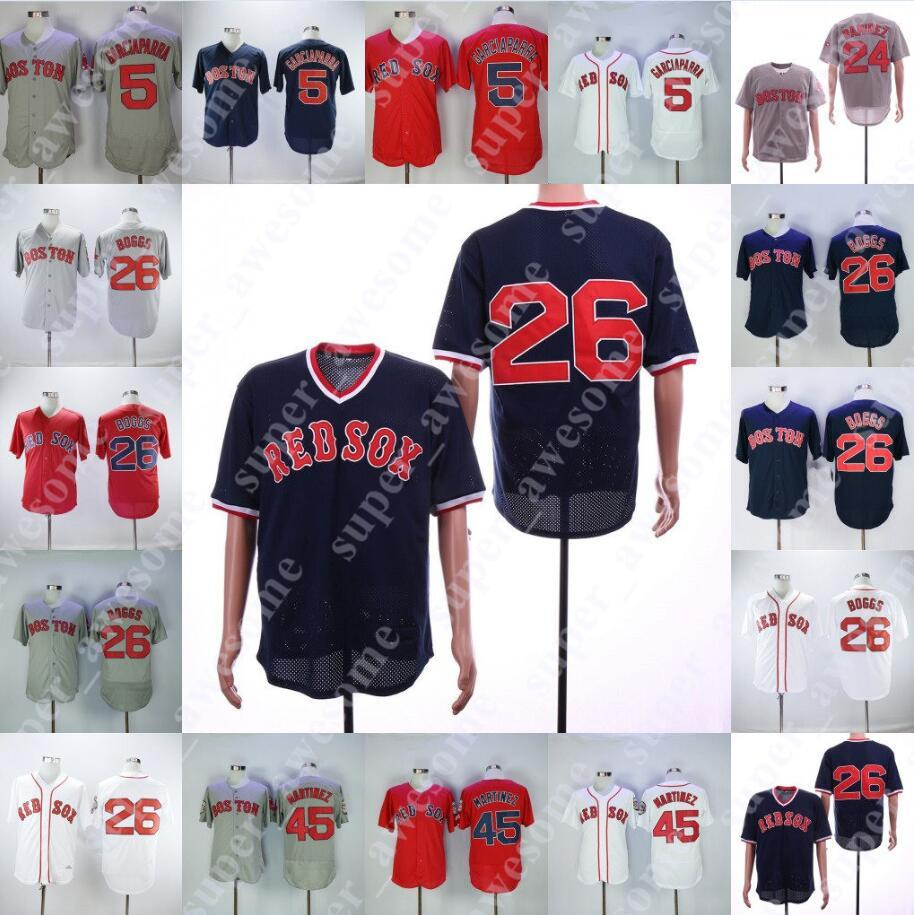 free shipping 7426e 8f612 26 Wade Boggs Red Sox Jersey 24 Manny Ramirez 5 Nomar Garciaparra 45 Pedro  Martinez Boston Baseball Jerseys Navy White Grey Red