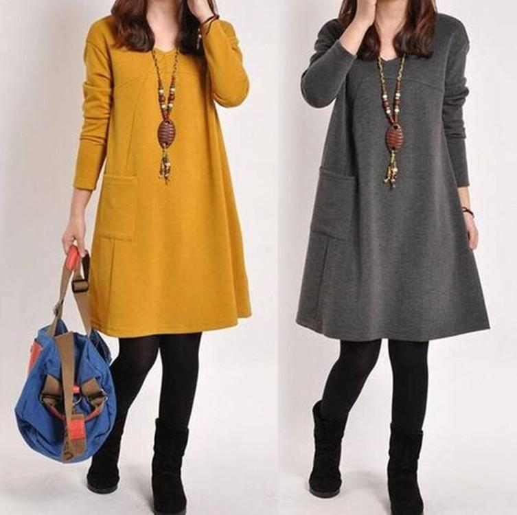 2019 Autumn Dress Women Winter Long Sleeve Pocket Dress Solid O Neck ... 6db493864c33