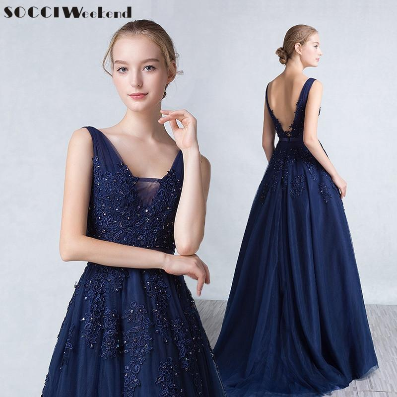 2019 Long Evening Dresses 2018 Tulle V Neck Robe De Soiree Appliques Lace  Beaded Elegant Dress Ribbon Belt Formal Prom Party Gown C18122201 From  Linmei0006 ce458644035f