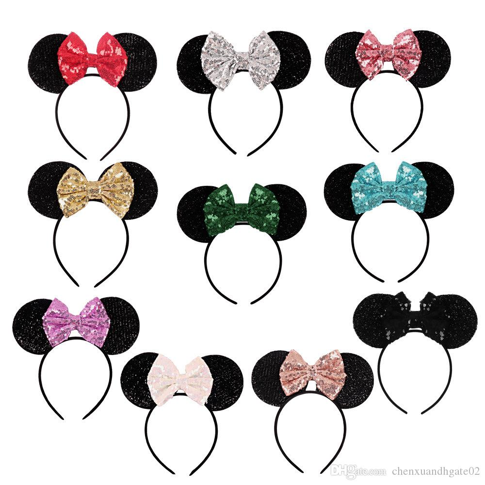 Fashion Sequins Bowknot Lovely Mouse Ears Headband Headwear for Travel Festivals Sequin Hair Band Accessories for Women Girls Cosplay Party