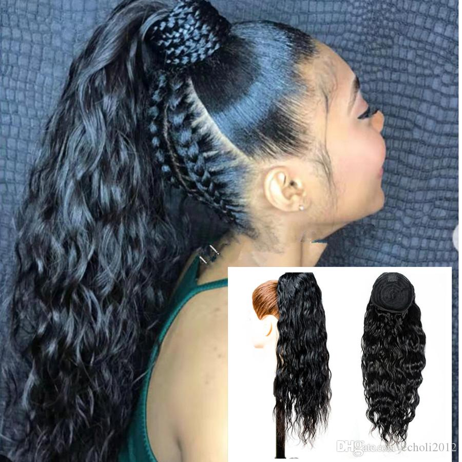 Cute water wave ponytail African american ponytail curly hair extension 100 human with drawstring two combs Free parting long high 140g