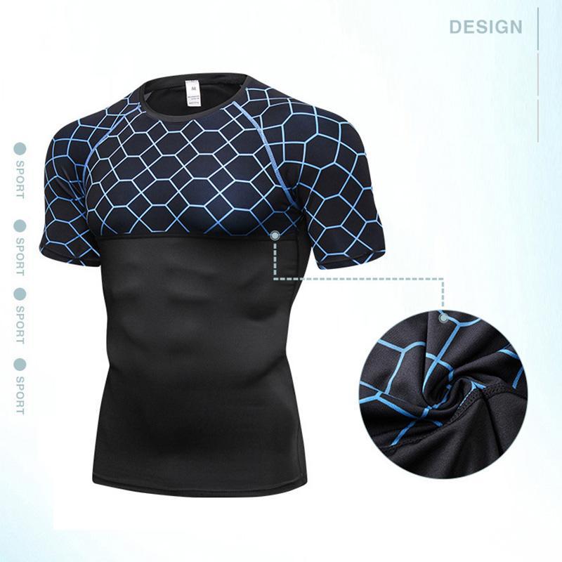 check-out d81ba a5238 Camicia sportiva stampata attillata, traspirante e aderente, da uomo di  nuova estate, con maniche corte girocollo