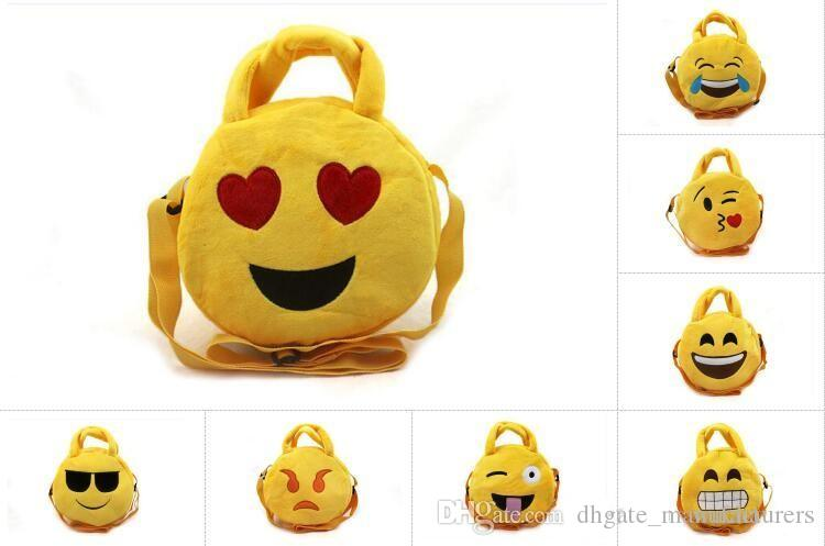 Emoji Plush Bags Cartoon kids coin bag 19cm Cute Emoji Children handbags Round emoji Snack bags Xmas gift