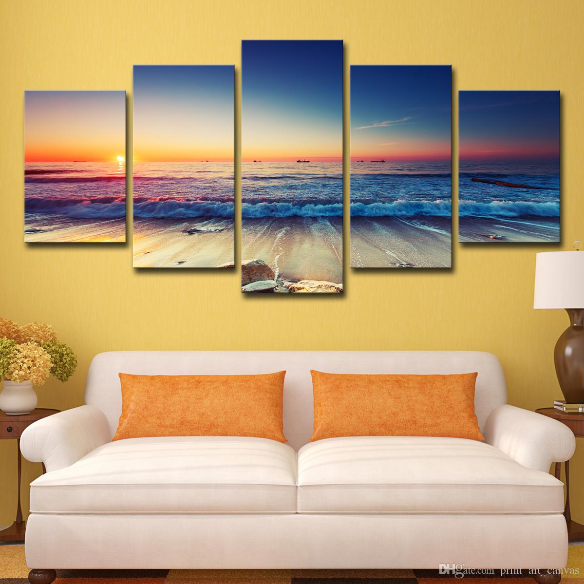 HD Printed Sunset Beach Landscape Painting Canvas Print Room Decor Print Poster Picture Canvas Free Shipping