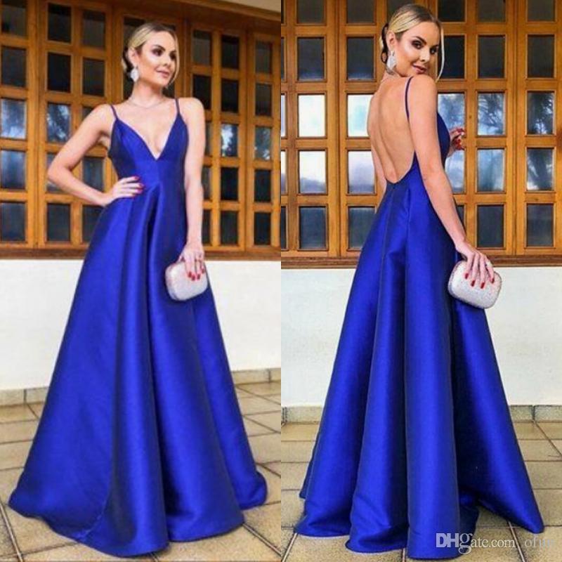 9af5c91d2 Vestidos Madrinhas 2019 Elegante Azul Royal Longo Vestidos De Baile Até O  Chão Spaghetti Straps V Pescoço Sem Encosto Evening Vestidos Vestidos De  Festa ...