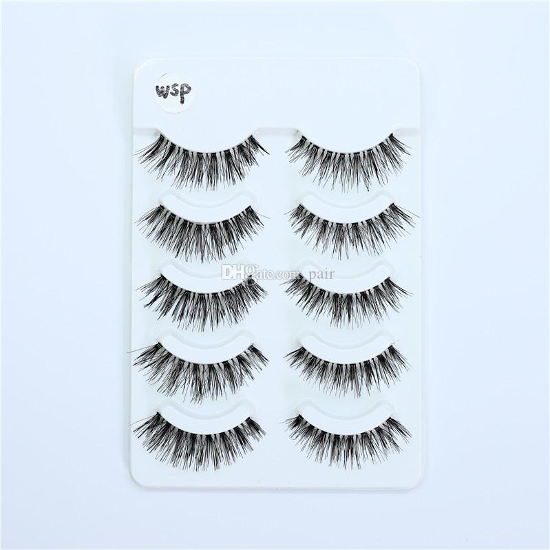 WSP wispy False eyelashes 3D Full Strip False Eyelash reusable False eyelashes with transparent stalks