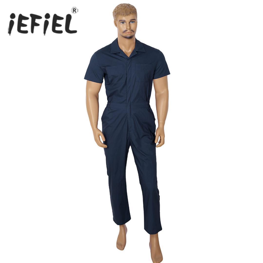 IEFiEL Mens One Piece Overalls Streetwear Turn Down Collar Mens ... 09fad8782e7