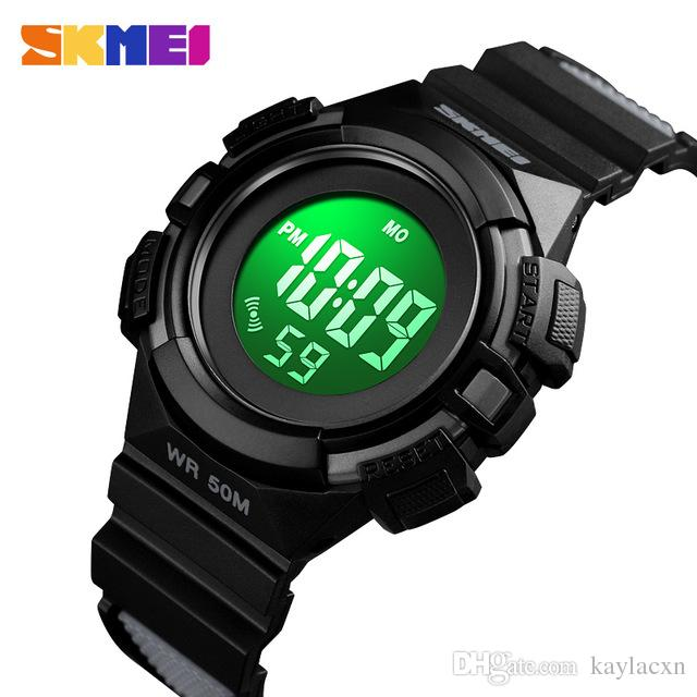 Precision Digital Lcd Kids Girls Fashion Wristwatch Cute Pink Pu Strap 50m Waterproof Child Watches Alarm Clocks Stopwatch Al Watches