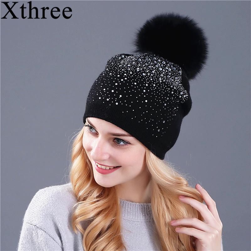 bd37f30f2a7 ... Women Winter Beanie Hat Rabbit Fur Wool Knitted Hat The Female Of The  Mink Pom Pom Shining Rhinestone Hats For Women S18120302 Slouchy Beanie  Skull Cap ...