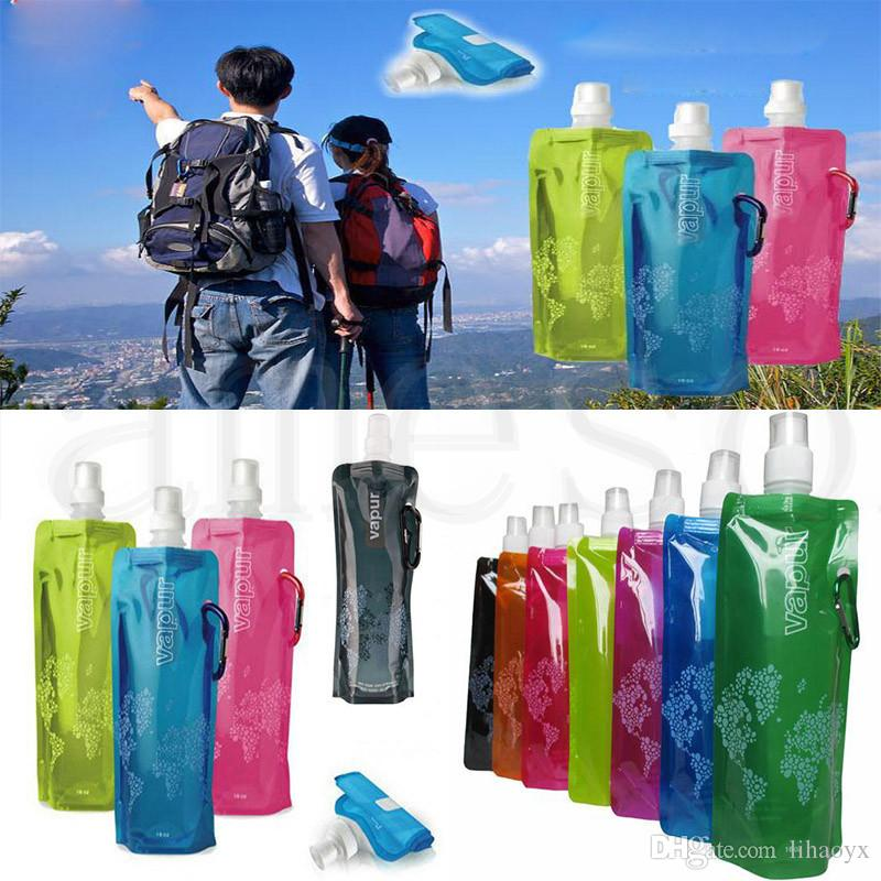 Wholesale 480ml Foldable Water Bottle Portable Folding Sports Cylcing Bike Water Bag Water Bladder 500pcs/lot dc705