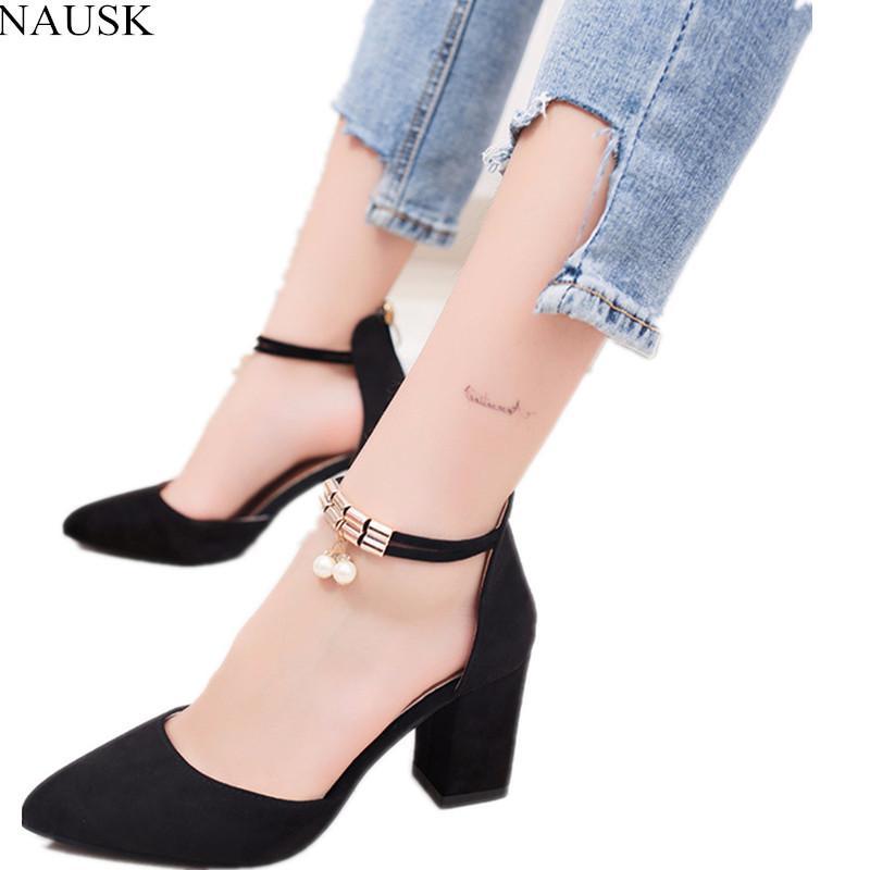 c46f434497 Compre Designer NAUSK 2018 Mulheres Sapatos De Verão Apontou Toe Bombas  Vestido Sapatos De Salto Alto Barco Sapato Sapatos De Casamento Tenis  Feminino Lado ...
