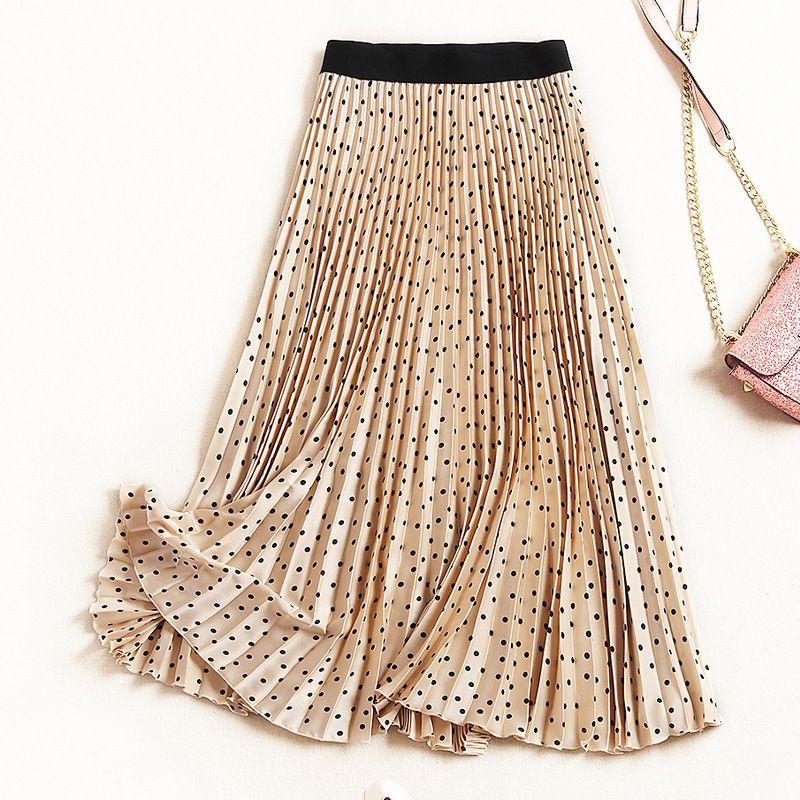 b11df0a00 Nuevo 2019 primavera verano moda polka dot impresión plisada falda de las  mujeres elástico cintura satén faldas largas negro caqui