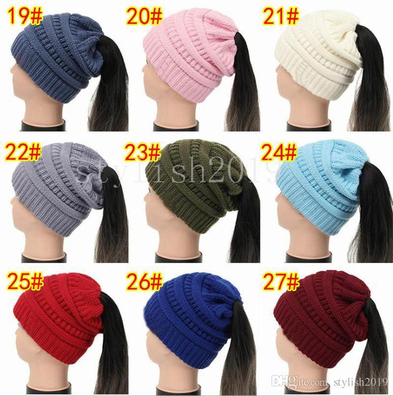 b9e2afe4bbb Lady Winter Knitting Beanies Girl Ponytail Hat Woman Winter Warm Knitting  Crochet Hat Canada 2019 From Stylish2019