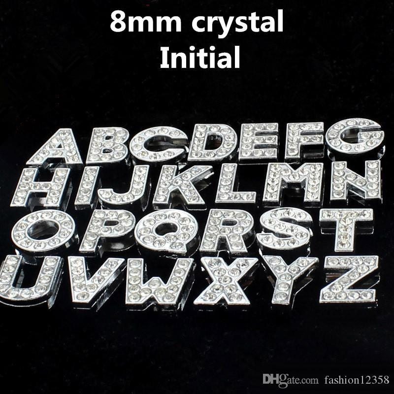 8mm 26 Letters A-Z Initial Charms Pendants Jewelry Making accessrioes DIY crystal rhinestone English Letter Bracelet Necklace Accessories