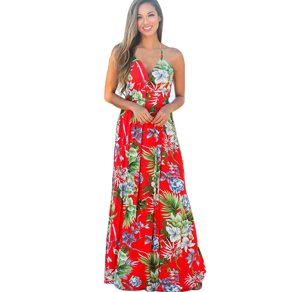 Summer new European and American women's explosive suspender print Beach Dress