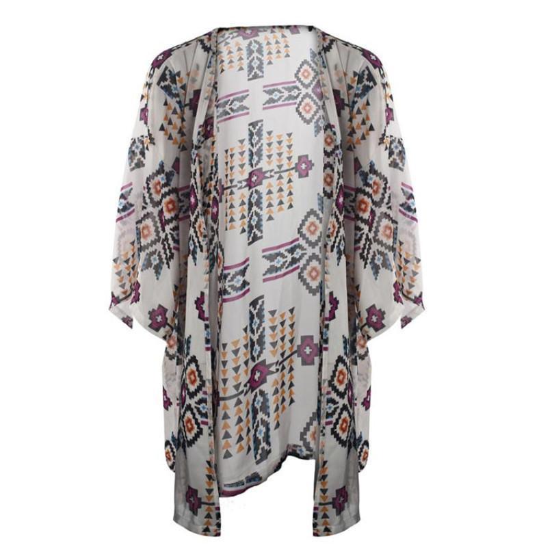 83b153bc02a Durable Summer Blusas Jaqueta Feminina Women Geometry Printed Chiffon Shawl Kimono  Cardigan Blouse Cover Up Plus Size Online with  27.63 Piece on Laiwun s ...
