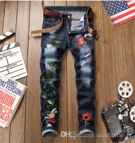 2019 new arrival!European and American jeans men's autumn and winter embroidery zipper open men's small straight leg trousers