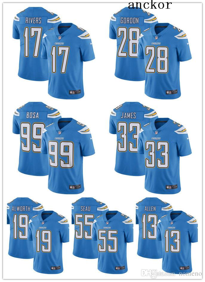 new style 22629 01d2e Los Angeles MEN WOMEN YOUTH 28 Melvin Gordon 17 Philip Rivers Limited  Alternate Jersey Football Chargers Electric Blue Vapor Untouchable