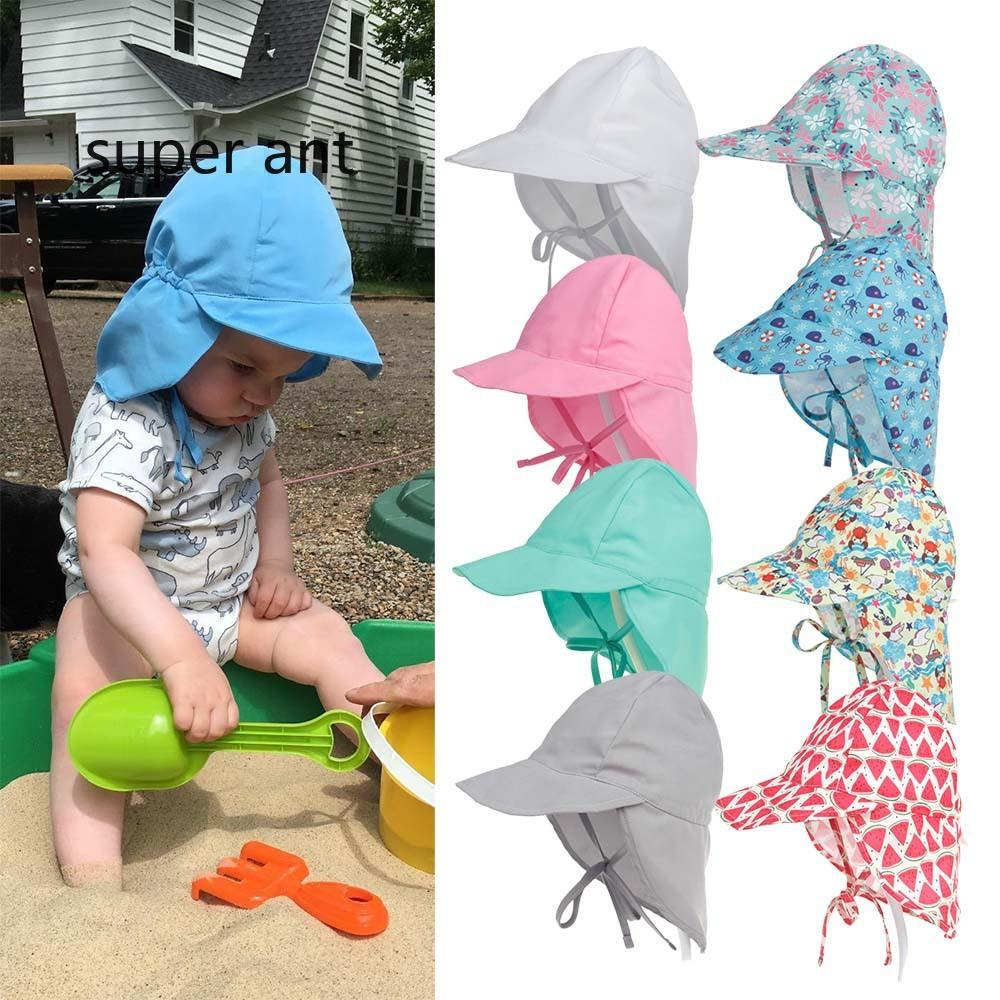 2019 Ins Baby UV Protection Hat Outdoor Soft Beach Hat Neck Ear Cover Flap  Cap Summer Newborn Sun Cap Unisex Baby Kids Bucket Hat From Superant 93c4c4bda21