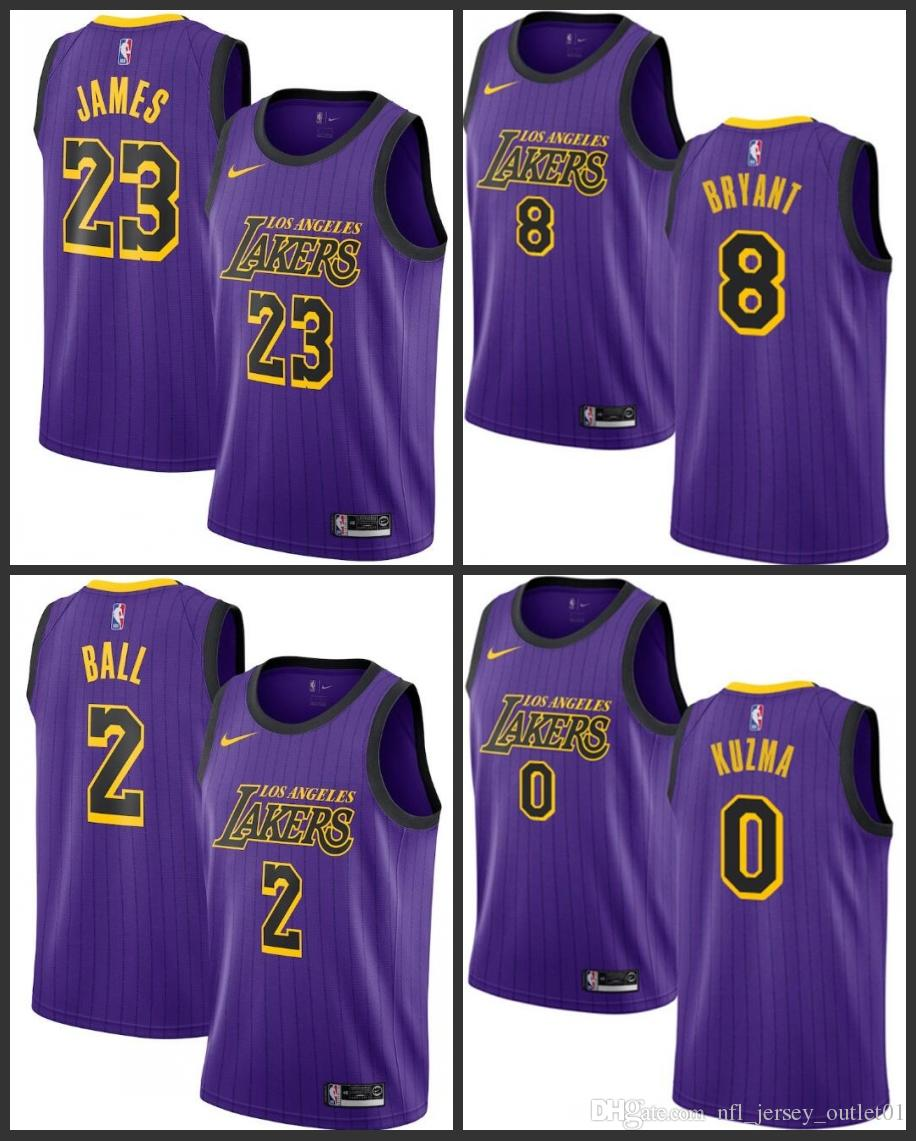 best service 4ad58 bc800 18-19 Season Los Angeles Men Laker Jersey #23 LeBron James Kyle Kuzma Lonzo  Ball Kobe Bryant City Jerseys Edition Fan Version