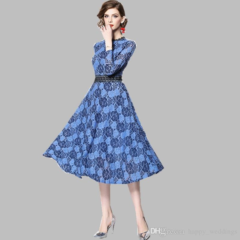 eb5fb3fadb2d 2019 Spring Designer Runway Dress Women S Long Sleeves Flowers Patchwprk  Lace Dress Party Dresses Sleeves Ladies Dress Collection From  Happy weddings