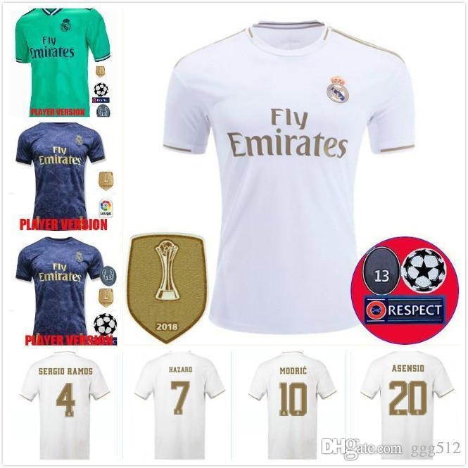 Player version 2019 Real Madrid Maillots de football DANGER 7 chemisette de Fútbol 19/20 Accueil MODRIC MARCELO 2020 kroos CITP Chemises BALE Football