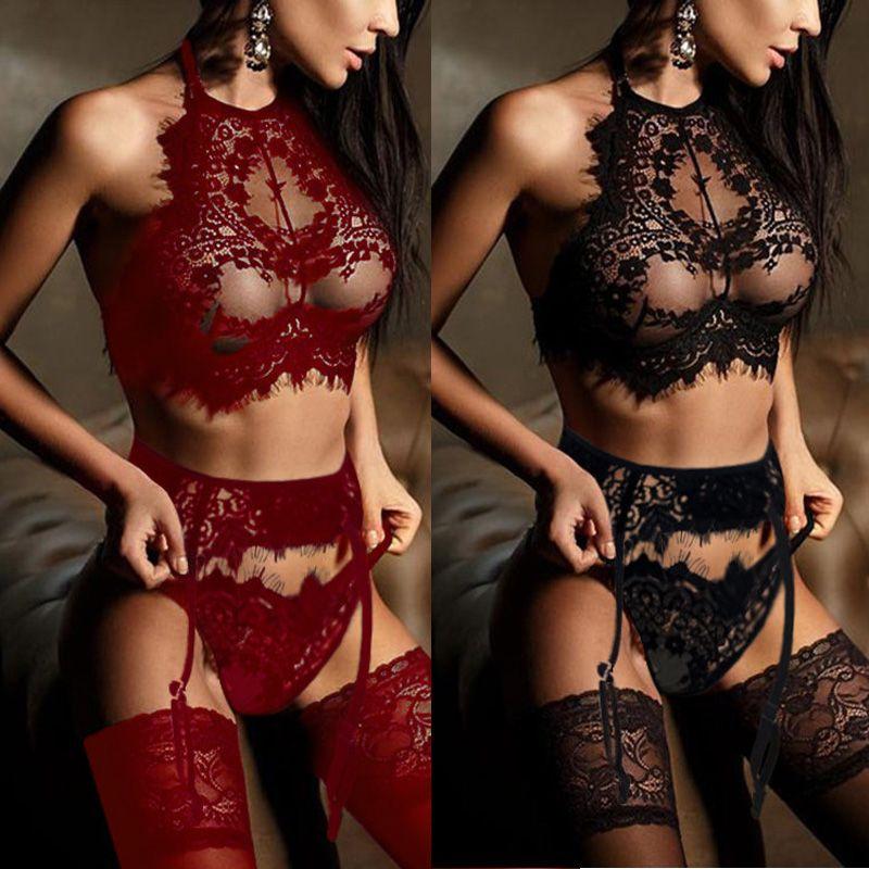 2019 Novas Mulheres Sexy-Lingerie Nightwear Pijamas Vestido Babydoll Lace G-string Roupa Interior