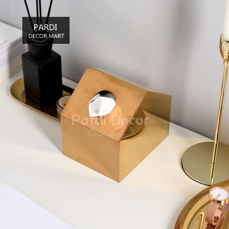 primo sguardo vera qualità garanzia di alta qualità Golden House Paper Towel Boxes Tovaglioli di metallo Scatole di carta  Bianco / Nero Casa scatola del tessuto Decorazione della casa 1pz / lotto