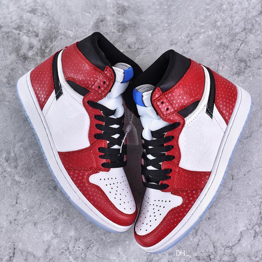 finest selection 00c44 682ec Acheter Nike Air Jordan Nouvelle Arrivée Spiderman 1 OG Chaussures De  Basket Ball Hommes Femmes 2019 Meilleure Qualité 1s Haute Chicago Designer  Bottes ...