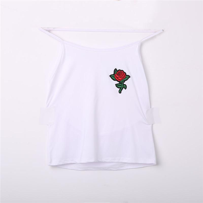 Fashion Women ladies Summer clothes Sleeveless vest tops halter casual backless floral embroidery slim short tank tops