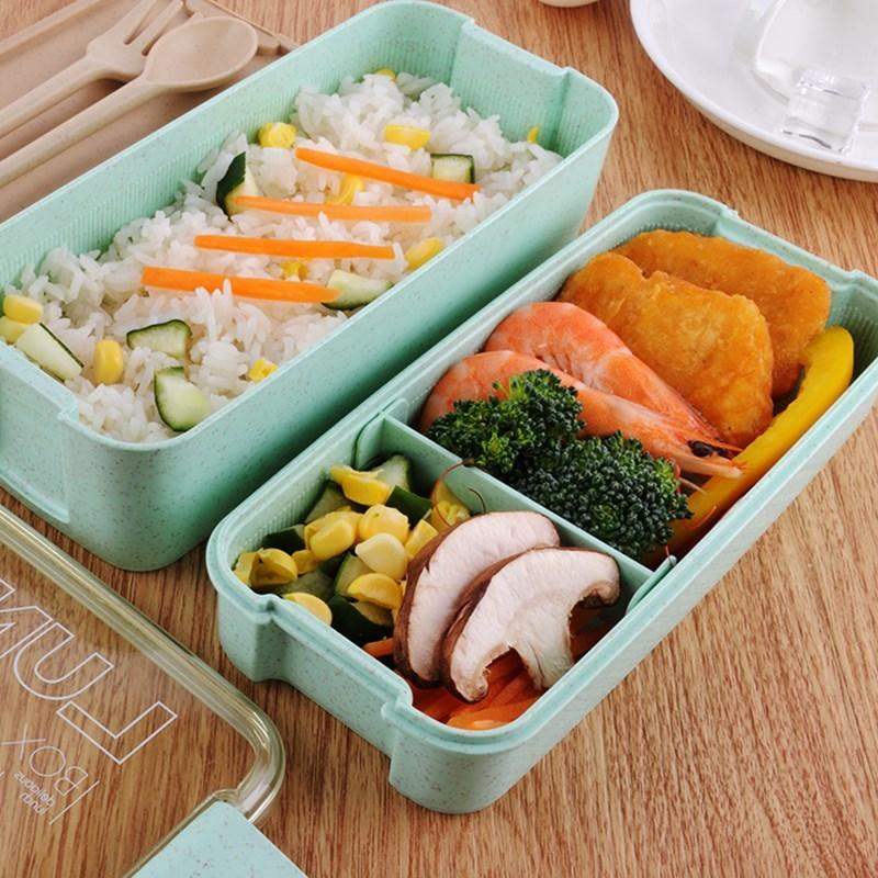 750ml Healthy Material 2 Layer Wheat Fibre Bento Box Microwave Food Container Japanese Lunch Box With Tableware C18112301