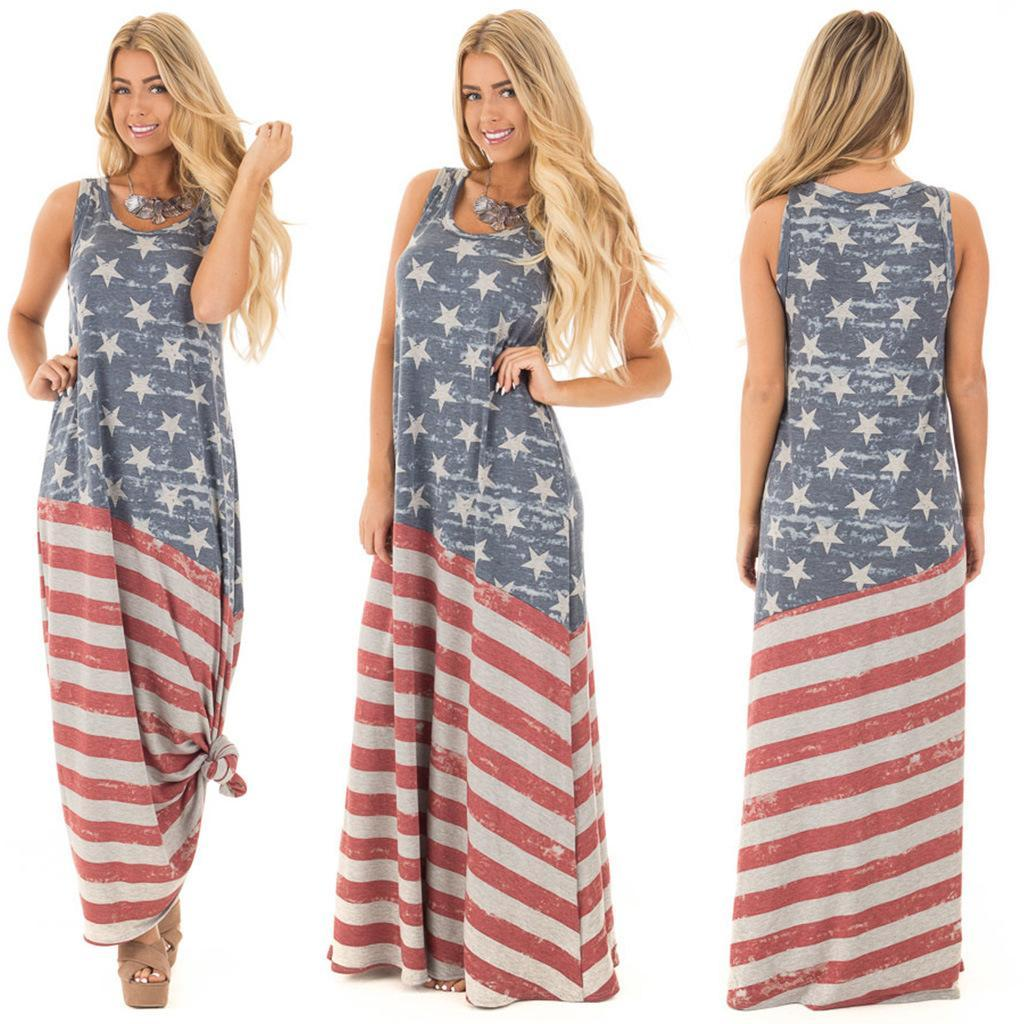 27a14ba6b2 3187 Independence Day American Flag Printed Maxi Dress 2019 Cheap Dresses  Dresses For Women From Meimeiyi, $21.76| DHgate.Com