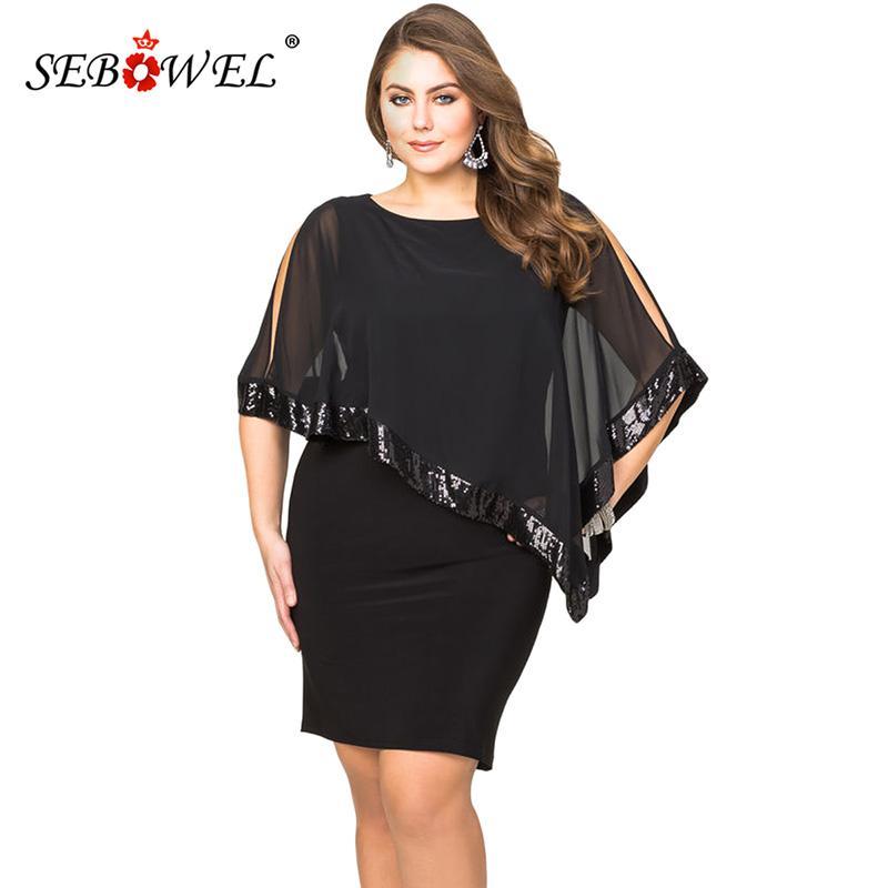 2371e1f7c6738 SEBOWEL Sexy Black Plus Size Sequined Mesh Poncho Bodyocn Party Mini Dress  Women Elegant Large Size Nightclub Dresses 4XL 5XL Summer Floral Dress  Styles ...