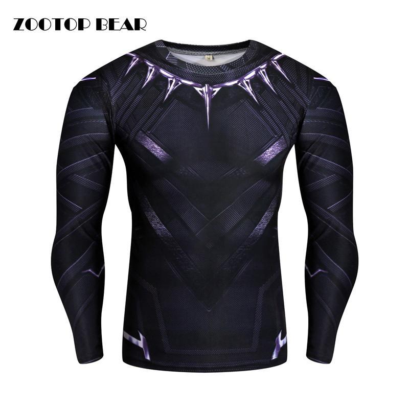 Compre Pantera Negra   Capitão América   Homem De Ferro   Inverno Soldado Camiseta  Compressão T Shirt Dos Homens Crossfit Camiseta Cosplay 2017 ZOOTOP URSO ... 9e684c367154f
