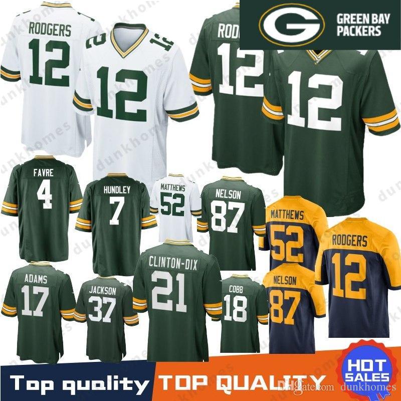 2019 12 Aaron Rodgers Green Bays Packers Jersey 80 Jimmy Graham 23 Jaire  Alexander 37 Jackson 4 Brett Favre 17 Davante Adams 52 Matthews Stitched  From ... 802946cb9